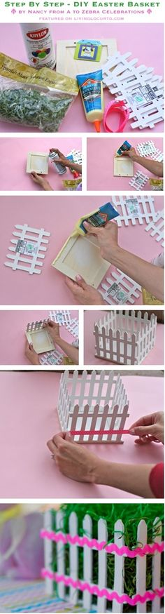 DIY Easter Basket (picket fence) Centerpiece {Craft Tutorial} Also could be used for Spring Shower centerpieces, etc. Use those imaginations! by tabitha Popsicle Stick Crafts, Craft Stick Crafts, Diy Crafts, Popsicle Sticks, Bunny Crafts, Spring Crafts, Holiday Crafts, Basket Crafts, Diy Ostern