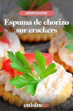 L'espuma de chorizo sur crackers est une préparation rapide et facile pour l'apéritif. #recette#cuisine#espuma #chorizo#apero #aperitif Crackers, Pretzels, Biscuit