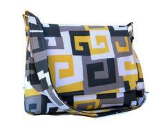 Cross Body Messenger Bag, Medium Fabric Purse, Everyday Shoulderbag - Gray, Yellow White Geometric - Long Adjustable Strap - Ready to Ship