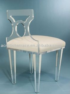 Acrylic Lucite Vanity Chair, love the geometric shape of the back