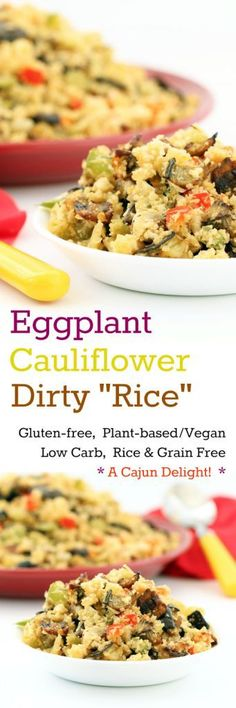 """Nutritionicity   Recipe: Eggplant Cauliflower Dirty """"Rice"""" (Gluten-Free, Vegan / Plant-based, Low-carb) Eggplant Cauliflower Dirty """"Rice"""" satisfies cravings for both carb and zest, while actually being a low-carb, plant-based meal! A Cajun/Creole delight! Get the recipe at http://www.nutritionicity.com/recipes/recipe-eggplant-cauliflower-dirty-rice-gluten-free-vegan-plant-based-low-carb/"""