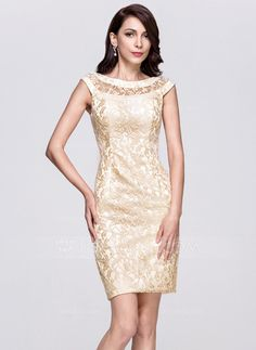 Sheath/Column Scoop Neck Knee-Length Zipper Up Cap Straps Sleeveless No 2015 Champagne Spring Summer Fall General Plus Lace Cocktail Dress