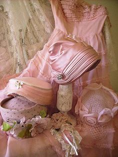 Pink vintage hat collection.