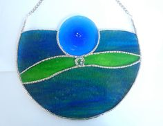 Abstract stained glass semi circle blues and by Nostalgianmore, $95.00