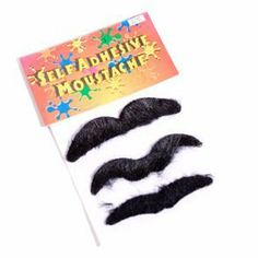 """Fake Mustaches by Century Novelty. $4.95. Great kid play fun!. 3 toy mustaches per order. Complete Your Cowboy Halloween Costume! The self adhesive fake mustache is a simple cowboy costume accessory that can make your cowboy outfit. No sheriff or cowboy costume is complete until you have the fake black moustache to go with it. Three fake mustaches per package. Each black moustache is 3 1/2"""" long. Self adhesive. Liven up your cowboy or sheriff costume with a fake mustache..."""