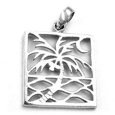 Pendant Rectangular Palm Tree Silver 925