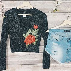 Nicole floral embroidered top and Phoenix distressed denim shorts  link in bio to shop our feed!  like us on Facebook for 20% off discount code
