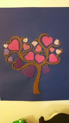 My perler heart tree