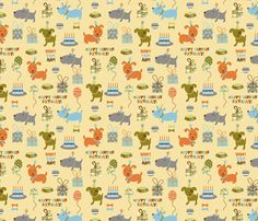 happy birthday doggies fabric by amel24 on Spoonflower - custom fabric