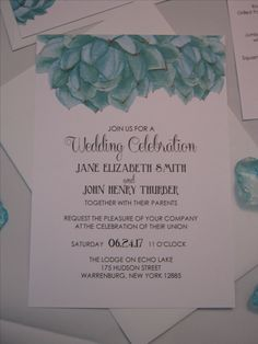 Elegant Succulent Collection: Wedding Invitation Created by Above & Beyond - Custom Events & Stationery.