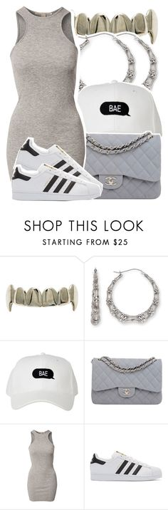 """"""".."""" by desirenelle ❤ liked on Polyvore featuring Bamboo, Chanel, NLY Trend and adidas Originals"""