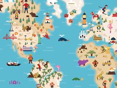 illustrated world maps - Google Search