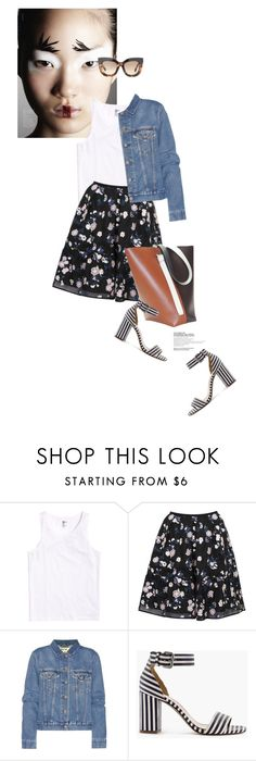 """""""Spring Casual Outfit"""" by magdafunk ❤ liked on Polyvore featuring Shin Choi, Erdem, Acne Studios, J.Crew, denimjacket, floralskirt, spring2016 and stripesshoes"""