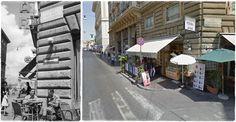 Soldati Alleati seduti in un bar di Via del Corso angolo Via Dell'Arco della Fontanella. Roma #GIUGNO1944