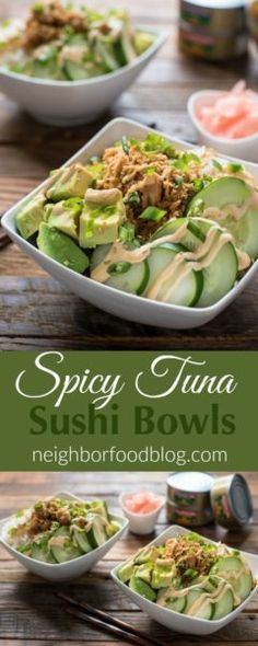 Spicy Tuna Sushi Bowl Recipe is a great quick and healthy dinner for busy weeknights.This Spicy Tuna Sushi Bowl Recipe is a great quick and healthy dinner for busy weeknights. Sushi Recipes, Healthy Recipes, Seafood Recipes, Asian Recipes, Cooking Recipes, Tuna Recipes For Dinner, Quick Recipes, Canned Tuna Recipes, Recipies