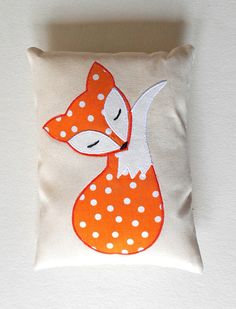 Orange Fox Pillow Decoration, Handmade Applique Fox Cushion