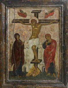 Crucifixion. Byzantine, Palaeologan period, Early 15th century. Bought by an English diplomat in Dubrovnik, 1920; thereafter in a private collection, London. The Temple Gallery.