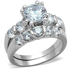 WOMEN'S 4 PRONG 2 CARAT CZ ENGAGEMENT AND BRIDAL WEDDING RING SET - Hope Chest Jewelry