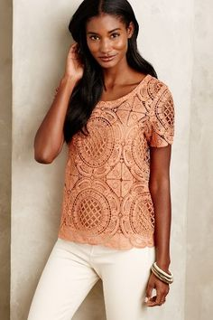 Cutwork Lace Tee - anthropologie.com