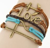 Cross-Anchor-Love Infinity Charm Bracelet