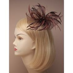 971adb25 Fascinator Clip & Pin - looped net and feather fascinator on a forked clip  with brooch
