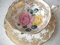 Vintage Paragon pink rose tea cup set, English bone china tea set, yellow rose tea cup, gold tea cup and saucer