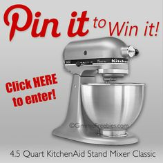 Enter to win this AMAZING giveaway of a KitchenAid Mixer.