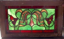 Pair of Victorian American stained glass transom window, Shop Rubylane.com