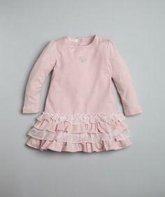 Gucci BABY pink stretch cotton ruffle hem dress   BLUEFLY