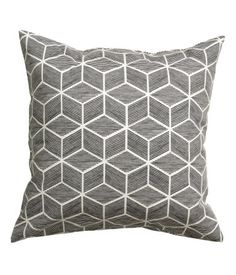 Dark gray. Cushion cover in cotton twill with a printed pattern. Concealed zip at lower edge.
