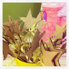 Tinkerbel party-paint and glitter your own wand? Maybe not cardboard but a cute idea...