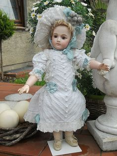 ~~~ Fantastic White Antique French Pique Dress with Pretty Hat ~~~ from whendreamscometrue on Ruby Lane