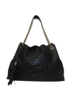 4a952f6bb43 Gucci Black Leather Soho Large Shoulder Chain Tote - Keeks Buy + Sell  Designer Handbags