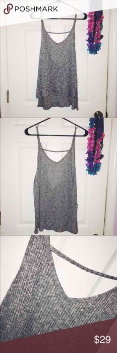Knit low back tank top Has an oversized fit. Really cute, can be dressed up or down! Perfect condition, no flaws. Express Tops Tank Tops
