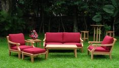 """New Luxurious 6 Piece Teak Sofa Set - Sofa, 2 Lounge Chairs, Ottoman, Coffee Table And Side Table [GVy] by WholesaleTeak. $2199.99. Dimension:Large Sofa- 68"""" W, 38"""" D, 32"""" H. Coffee Table - 47"""" W, 24"""" D, 17"""" H and Side Table - 21"""" Sq 20"""" H. Sunbrella fabric Cushions are sold & listed separately for additional Cost,Contact us for more info. Lounge Chairs-29"""" W, 38"""" D, 32"""" H and Ottoman 28"""" W, 22"""" D, 11"""" H. 6 pc Sofa Set Includes: Sofa, 2 Lounge Chairs, Ottoman, Coffee..."""