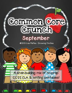 Common Core Crunch - September ELA CCSS printables for Word Work, Daily Warm Up, Homework, etc First Grade Reading, First Grade Classroom, Primary Classroom, School Classroom, Classroom Ideas, Classroom Organization, Common Core Ela, Common Core Reading, Common Core Standards