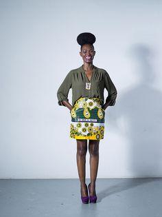 "Lindiwe mini skirt by Tatusi. ""Mimi ni si moyo"" - it's not me, it's my heart."