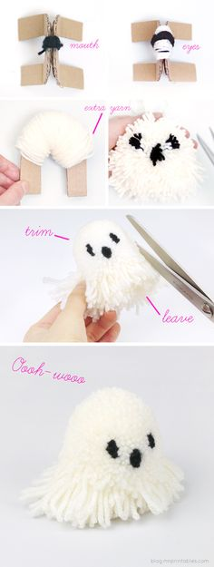 Make some pom-pom ghosts! Diy halloween make it yourself kawaii easy homemade fall decor