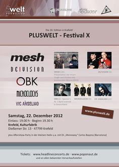 PLUSWELT-Festival X, 22.12.2012, Krefeld, Kulturfabrik; MESH; DE/VISION; OBK; MICROCLOCKS; VIC ANSELMO