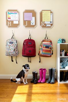 This school year, beat the morning rush by organizing all of that loose paperwork — from homework assignments to permission slips — in one place. Take your system a step further by pairing pinboards with a set of hooks for backpacks.
