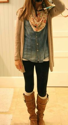 black leggings, denim shirt check, flowery infinity scarf, tan long cardigan, brown boots, white boot cuts
