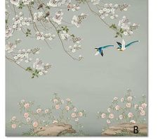 Fine Brushwork Flowers Birds Wallpaper Wall Murals, Spring Parasol Tree Flowers Branches with Resting Birds Chinoiserie Wall Mural Wallpaper Wall, Chinoiserie Wallpaper, Kitchen Wallpaper, Arabian Decor, Open Wall, Cleaning Walls, Flower Branch, Parasol, Decoration Design