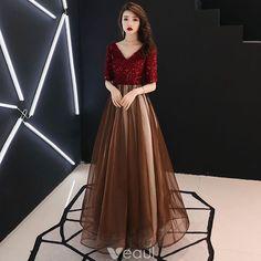 Modern / Fashion Burgundy Evening Dresses 2019 A-Line / Princess V-Neck Tassel Sequins 1/2 Sleeves Backless Floor-Length / Long Formal Dresses