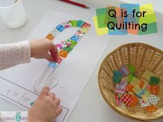 Q is for Quilting - this activity was inspired by reading the story The Quilt by Ann Jonas -  free printable letter q in different fonts