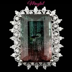 $11800 CERTIFIED 14K WHITE GOLD 20.50CT NATURAL TOURMALINE AND DIAMOND RING #Cocktail