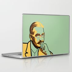 Literature laptop skin portrait of L. Frank Baum, author of The Wizard of Oz, in green and yellow.