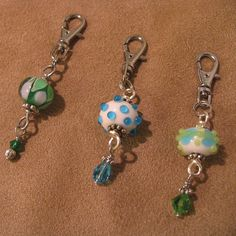 Zipper Pull Trio Lovely Lampwork Beads in Blues by JenniferSumner, $15.00