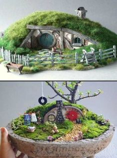 Miniature Hobbit Hole : These DIY miniature hobbit holes will make for an enchanting addition to your fairy garden.DIY Miniature Hobbit Hole : These DIY miniature hobbit holes will make for an enchanting addition to your fairy garden. Mini Fairy Garden, Fairy Garden Houses, Diy Garden, Garden Crafts, Garden Ideas, Fairy Gardening, Fairies Garden, Hobbit Hole, The Hobbit