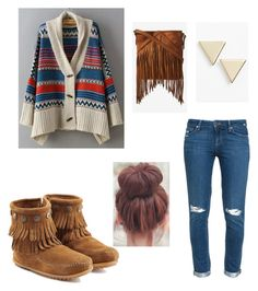 """""""Getting my FRINGE ON"""" by alise-ds on Polyvore featuring Minnetonka, Paige Denim, Express and Nordstrom"""