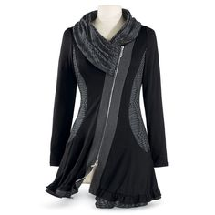 Black Shawl Cowl Tunic - Women's Clothing & Symbolic Jewelry – Sexy, Fantasy, Romantic Fashions the pyramid collection Cool Outfits, Fashion Outfits, Womens Fashion, Fru Fru, Look Cool, Refashion, Plus Size Fashion, What To Wear, Tunic Tops